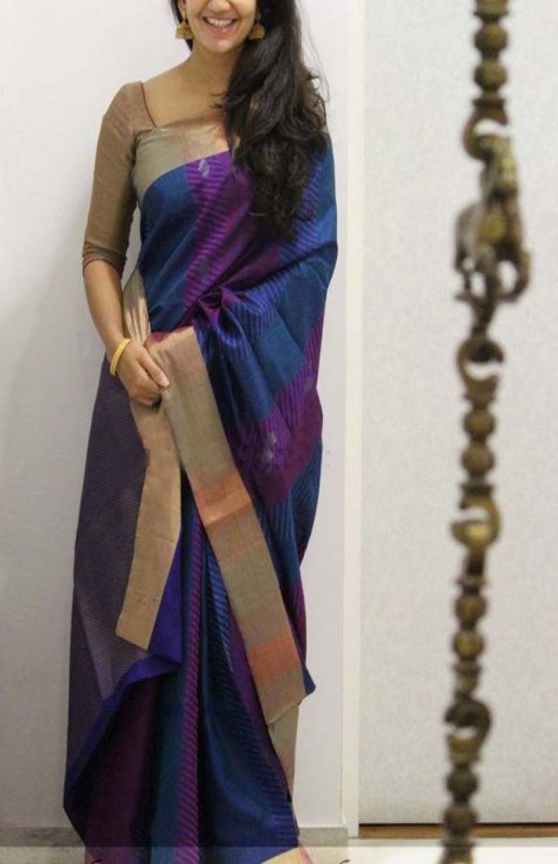 50ad13268403da Exclusive Blue Color Soft Silk Saree - cnd1112