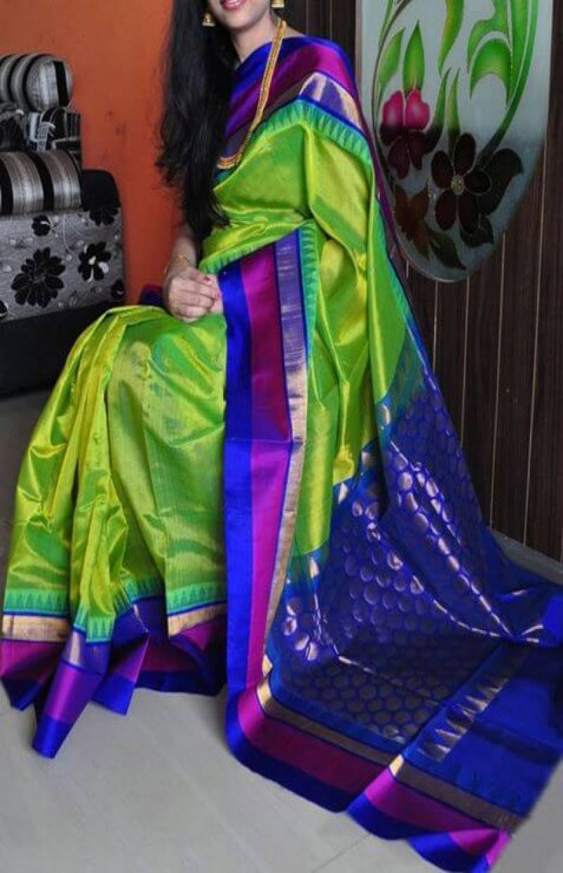 Dashing  Green n Blue Color Soft Silk Designer Sarees - cnd711 - Ethnik Mall