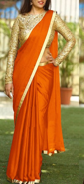 Sanna Silk Saffron Colored Golden Border Saree With Paper Matty Silk Embroidered Blouse - DVD1067C