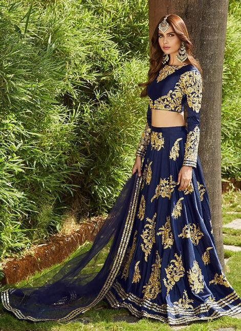 af7f1547e8 Navy Blue Colored Tapeta Silk With Embroidery Work Lehenga Choli -  DVDLMC9056E