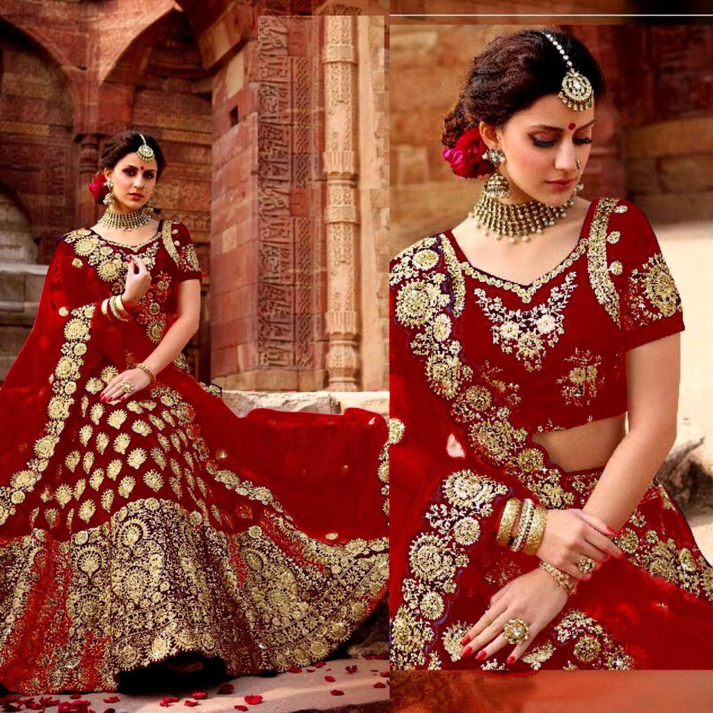 Red Colored Velvet Silk Heavy Embroidered Work lehenga Choli With Dupatta - DVDLMC9060B