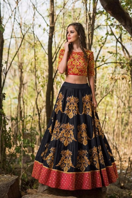15fbfb2033 Black Colored Tapeta Silk Heavy Embroidery Work Lehenga Choli With Dupatta  - DVDMC9046C