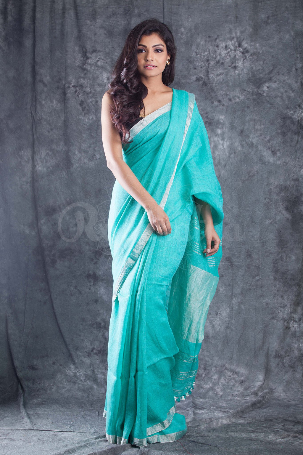 Khadi Silk Sea-Green Colored Saree  - KA00139
