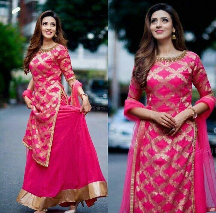 96ae7ada7e Appealing Pink Colored Partywear Designer Embroidered Banglori Silk Le