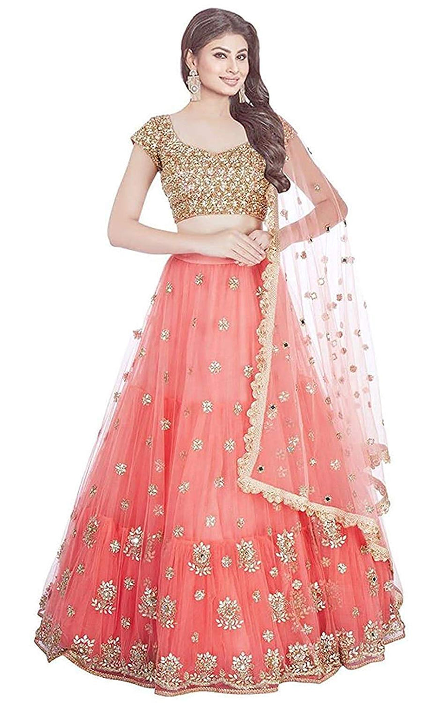 2eb6c161d7a Silk Fabric Beautiful Indian Style Unique Gajari Pink - Golden Colored  Lehenga Choli With Dupatta - LC220