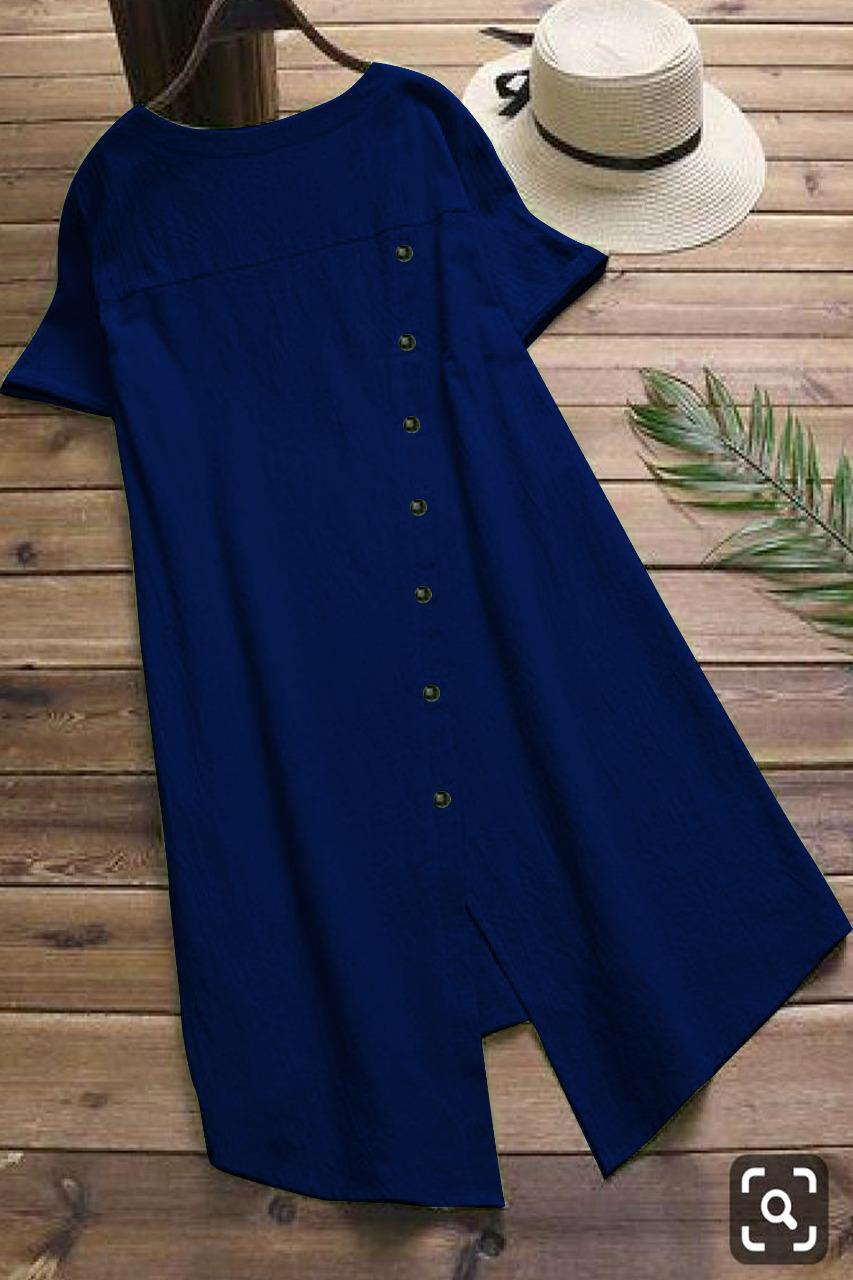 Stylish Blue Colored Pure Slub Cotton Button Kurti For Girl - MAJISHASCK104