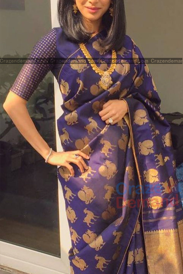 Lavishing Purple Colored Traditional Soft Silk Festive Wear Saree - CD302