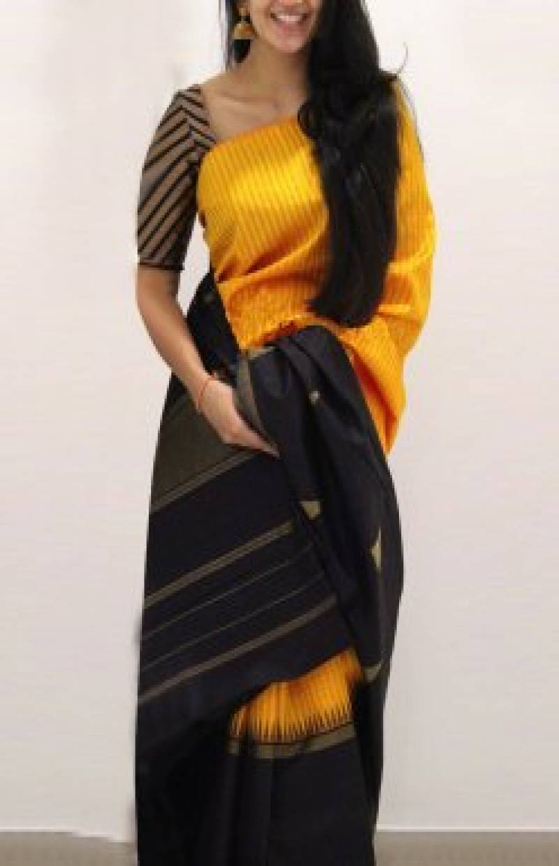 Heavy Yellow n black Color Soft Silk Designer Sarees-cnd643
