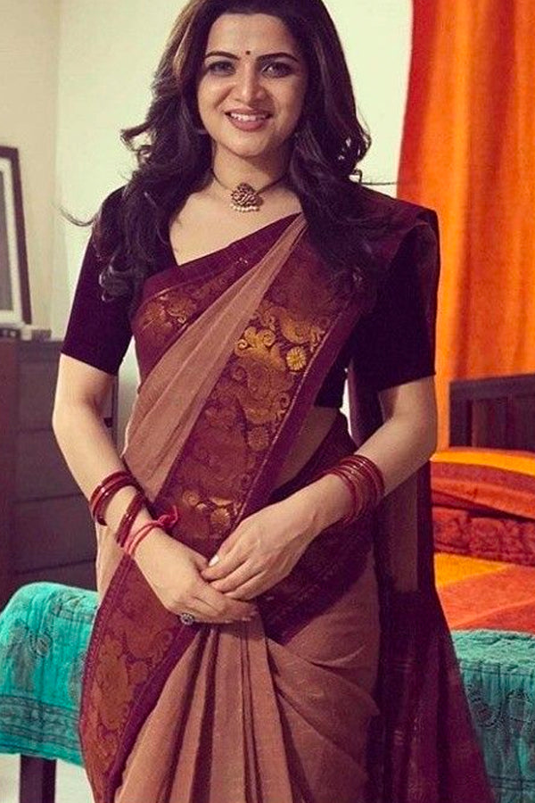 Dashing Maroon Border Kanchipuram Style Silk Saree - CS48 - Ethnik Mall