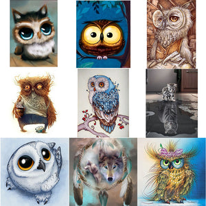 5D DIY Diamond Painting-Owl/Cat/Wolf