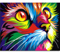 Colorful Cat  DIY Canvas Painting By Numbers Kit