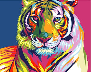 Colorful Tiger Canvas DIY Painting By Numbers Kit