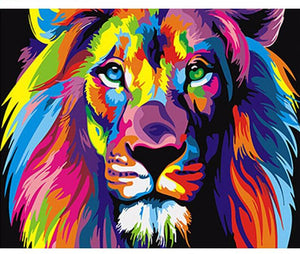 Colorful Lion Canvas DIY Painting By Numbers Kit