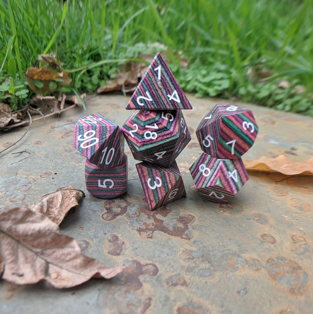 Rainbow stripe wood dice set. Real wooden dice set for Dungeons and Dragons.