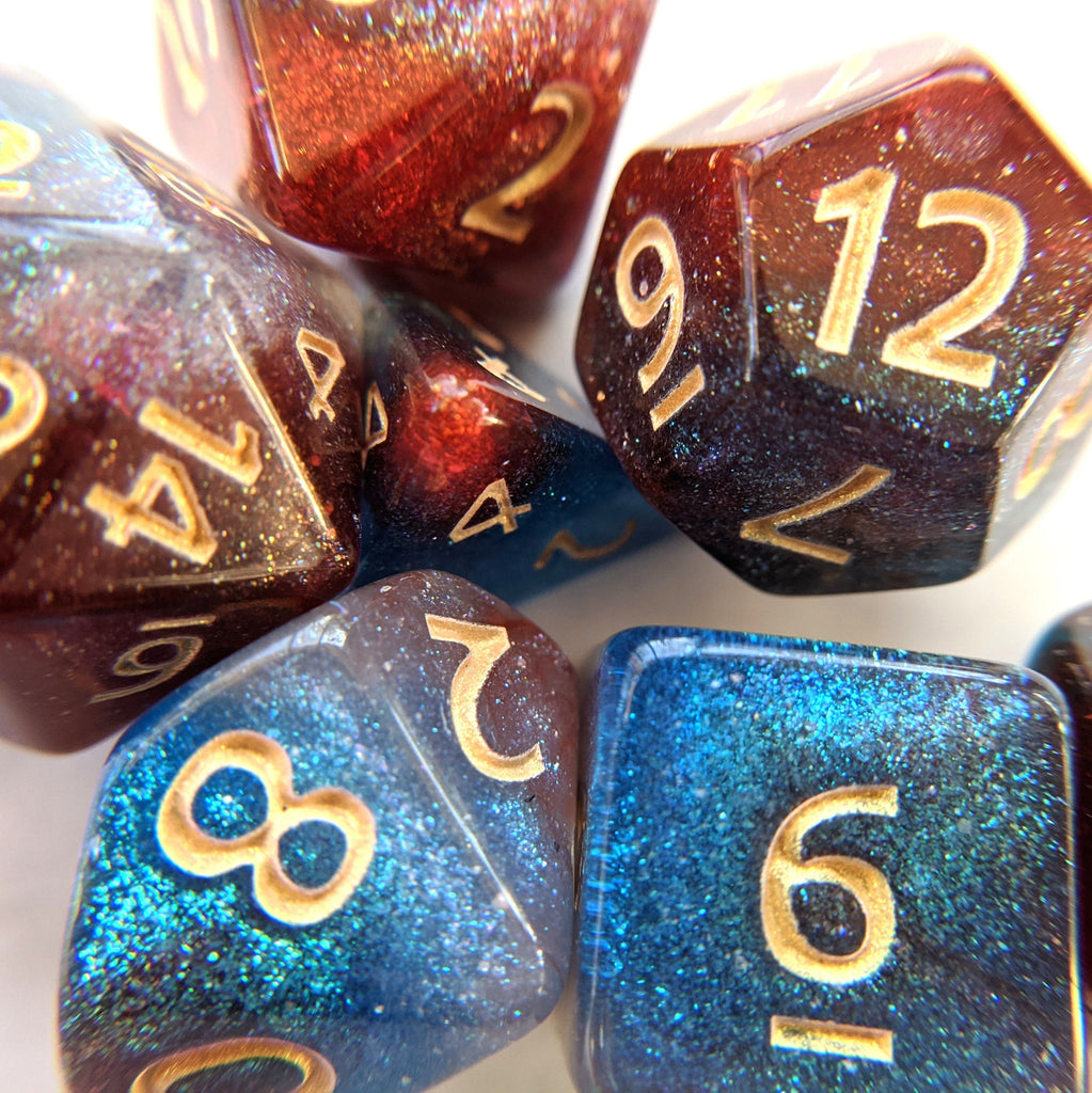 galaxy dice set. micro shimmer colorful 7 piece dice set for Dungeons and Dragons.