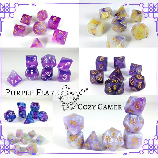 7 piece polydedral dice sets in purple. Pearly dice, translucent dice, glitter dice, layered dice