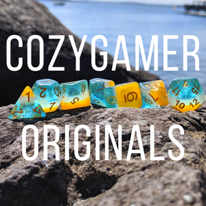 Cozy Gamer original dice designs. Cozygamer exclusive dice sets designed by Therin. Dice sets for ttrpgs and Dungeons and Dragons.