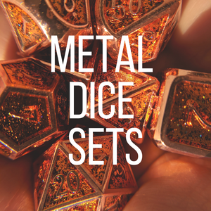 Metal dice sets for dungeons and dragons and other table top role playing games. 7 piece polyhedral dice sets