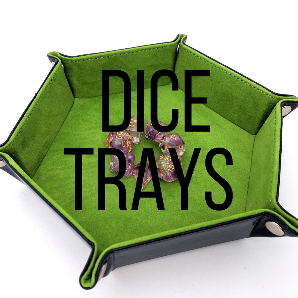 Dice trays for dice sets. trays for rolling dice in. Keeping dice for dungeons and dragons and other table top roll playing games.