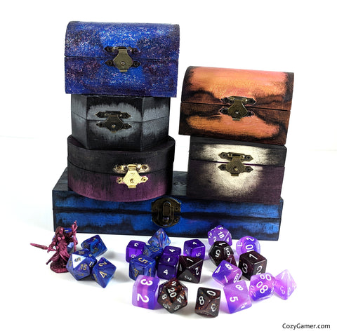 Cozy Gamer Dice Box for TTRPG Dice Set, Hand painted