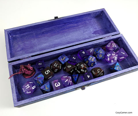 Blue and Black Dice Box for TTRPG Dice Set