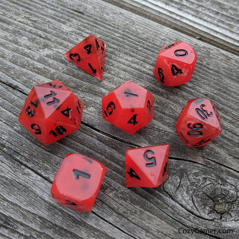 Handmade Dice Set. Corrupted Blood DND Dice