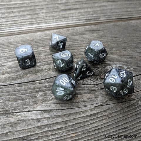 Handmade Dice Set. Black and Gray Shimmering TTRPG Dice Set.