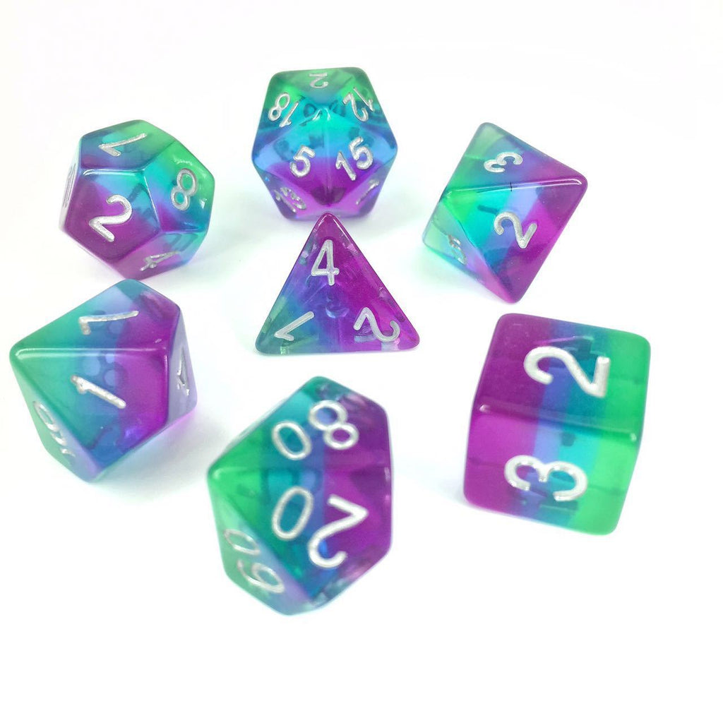 Aurora Dice Set. Purple Blue and Green Layered Rainbow Dice - CozyGamer