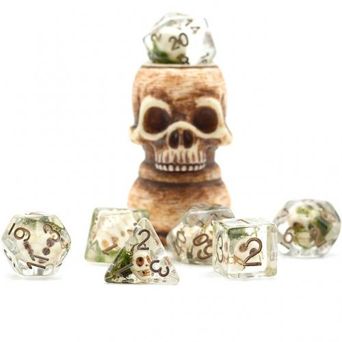Resting Skull Dice Set, Skull beads and moss - CozyGamer