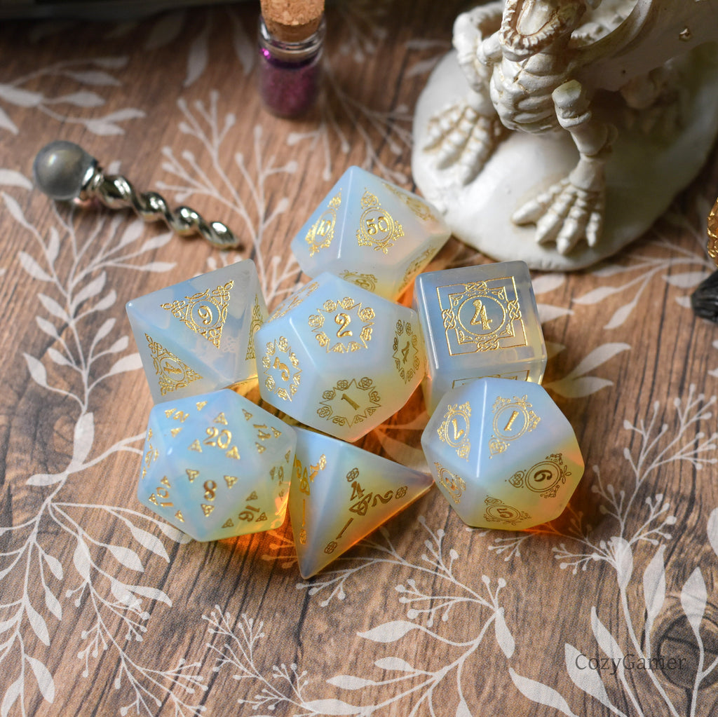 Celtic Knot White Opalite Dice Set. Real Gemstone 7 Piece TTRPG Dice - CozyGamer