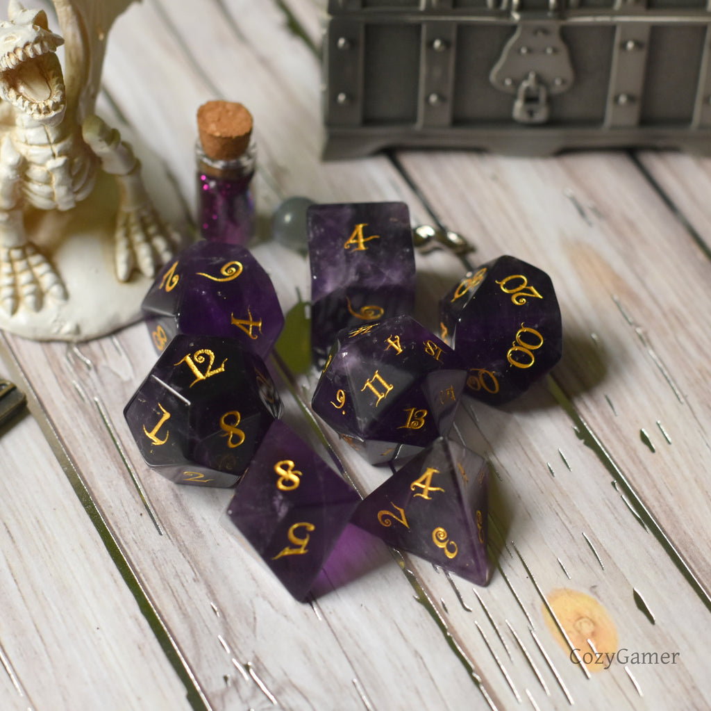 Amethyst Dice Set. Real Gemstone 7 Piece TTRPG Dice - CozyGamer