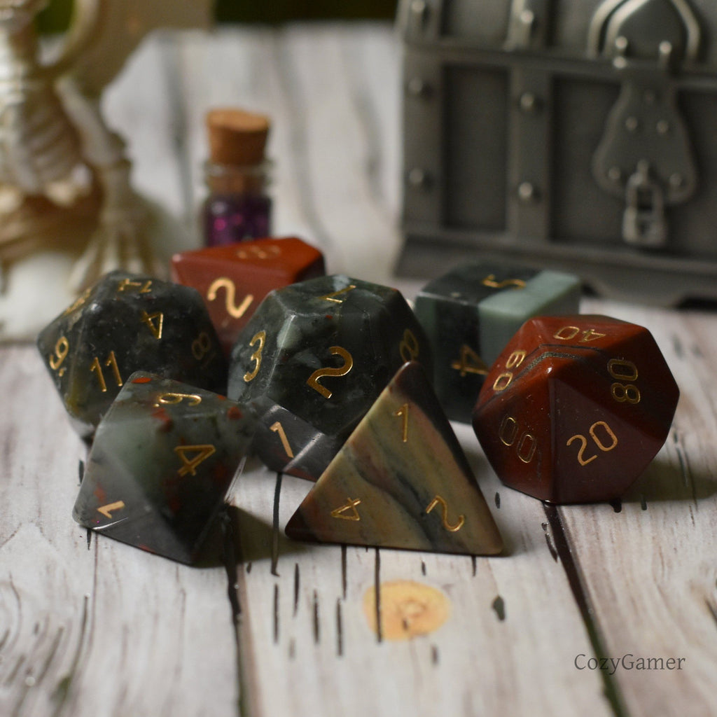 Bloodstone Dice Set. Real Gemstone 7 Piece TTRPG Dice - CozyGamer
