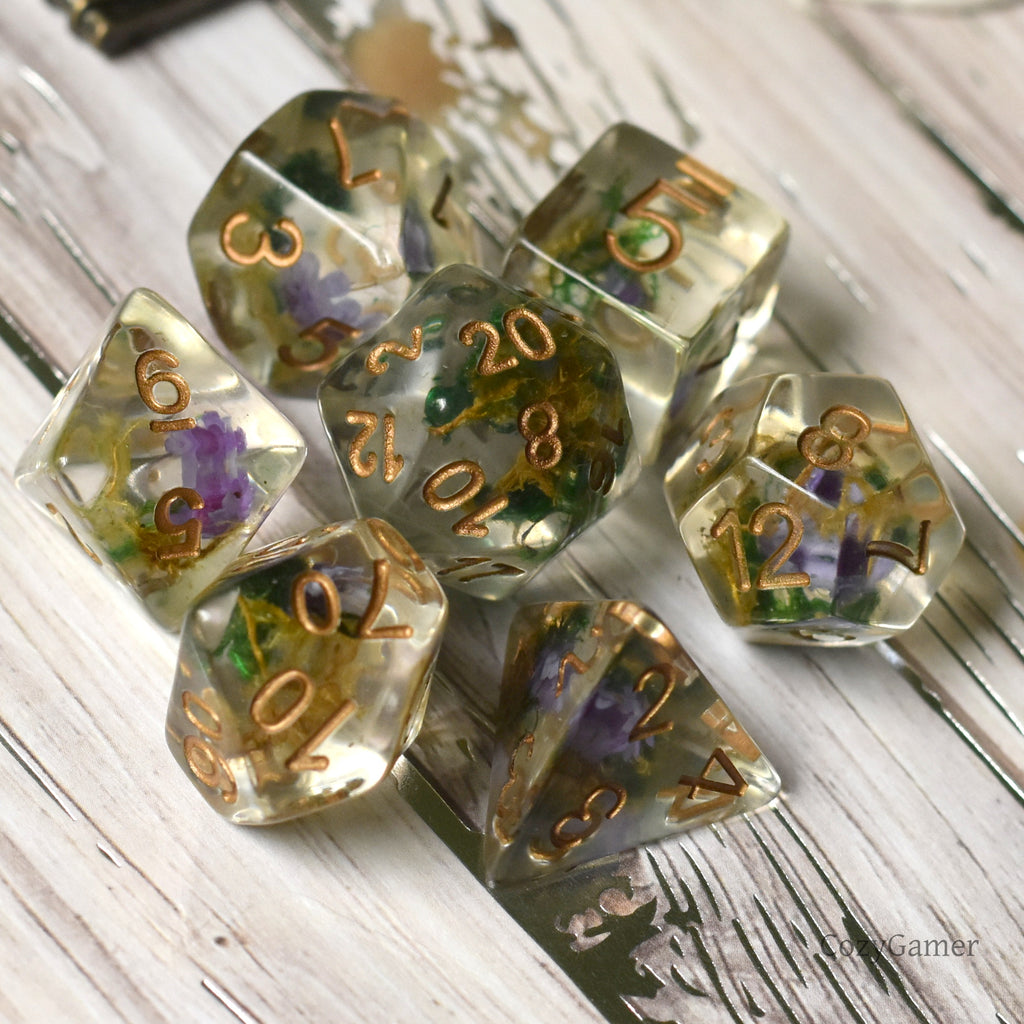 Tiny Purple Flower and Moss Dice Set. 7 Piece terrarium style DND dice set - CozyGamer