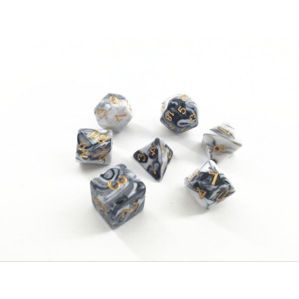 Black and White Marble Dice Set - CozyGamer
