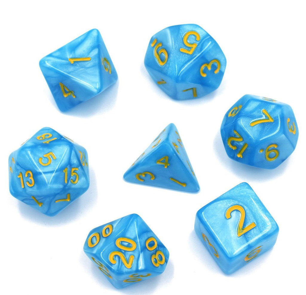 Crystal Blue Lake Dice Set. Pearly blue DnD dice set - CozyGamer
