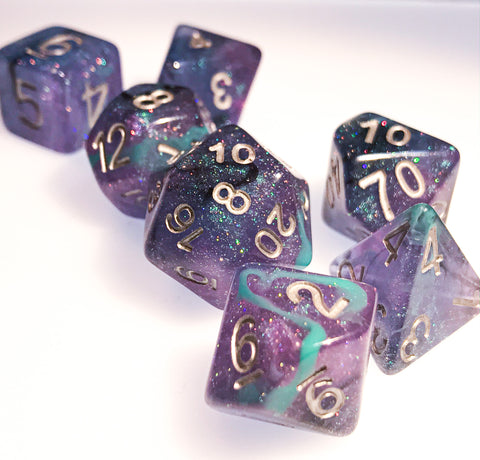 Unending Breath Dice Set. Blue, Purple, Micro Shimmer and Vapor