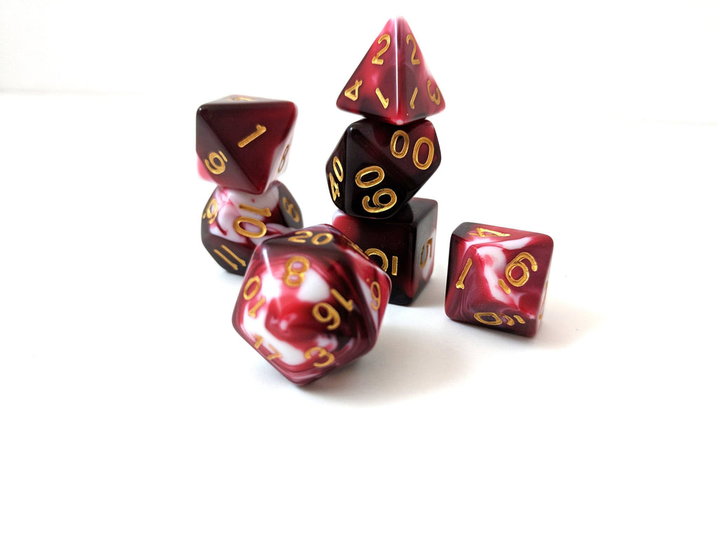 Battle Mage's Bloody Dice Set, Red and White Marbled 7 Piece D&D Dice Set - CozyGamer