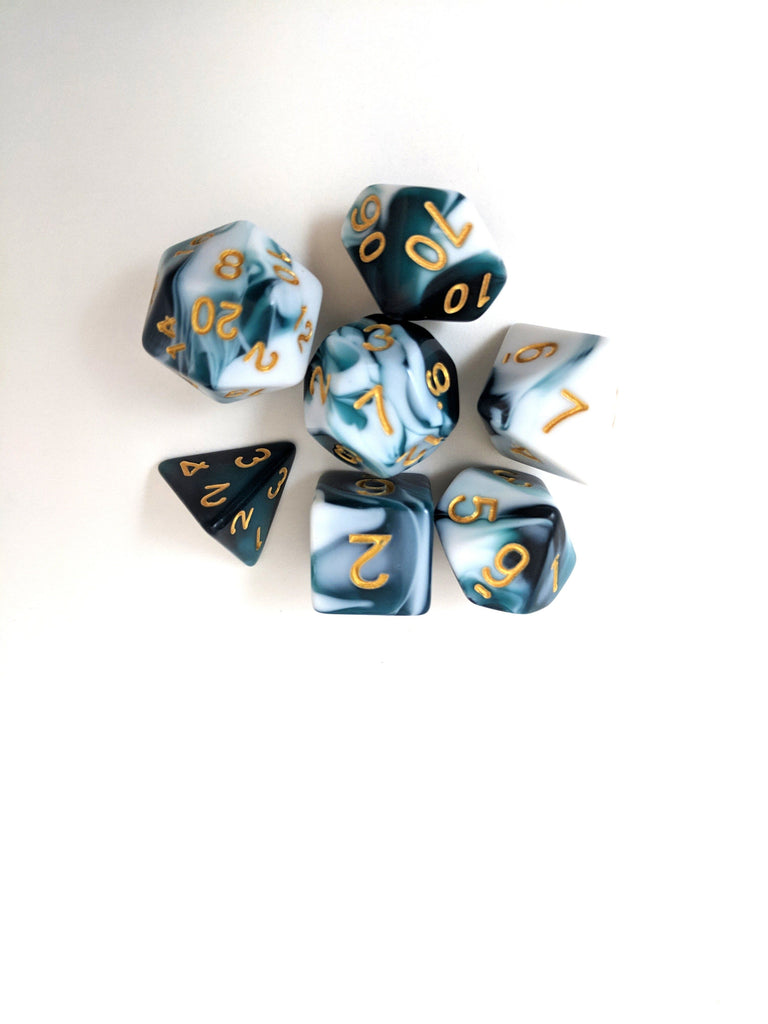 Whirlpool Blue and White Dice Set, Marbled 7 Piece D&D Dice Set - CozyGamer