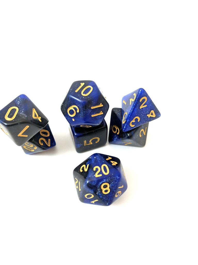 Dark Orb Dice Set, Black and Blue Glitter Marbled 7 Piece DnD Dice Set - CozyGamer
