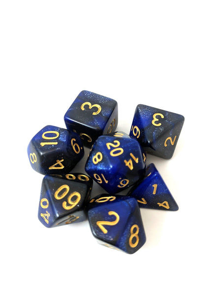 Dark Orb Dice Set, Black and Blue Glitter Marbled 7 Piece DnD Dice Set-Dice sets-CozyGamer