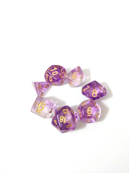 Witch Blood Dice Set, Translucent Purple Ink 7 Piece D&D Dice Set-Dice sets-CozyGamer
