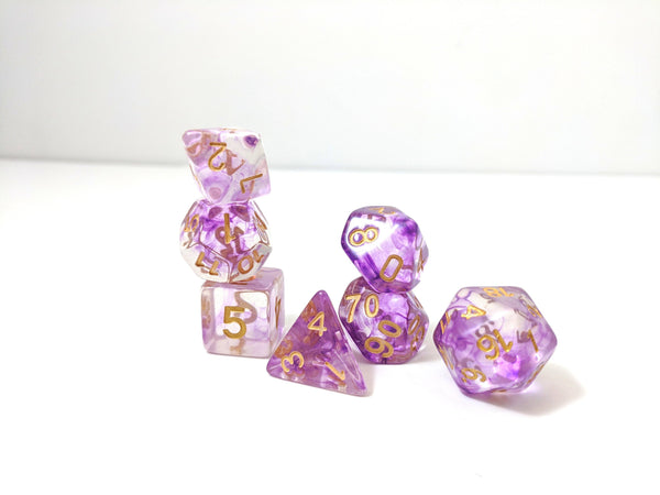 Witch Blood Dice Set, Translucent Purple Ink 7 Piece D&D Dice Set