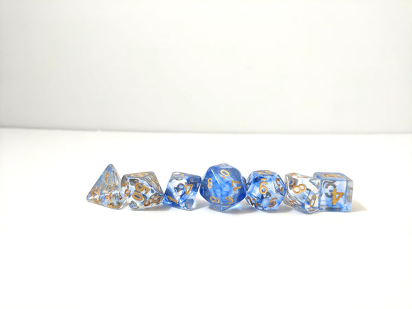 Blue Blood Dice Set, Translucent Blue Ink 7 Piece D&D Dice Set