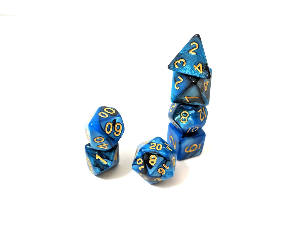 Graveyard Dice Set, Blue and Black Marbled 7 Piece D&D Dice Set - CozyGamer