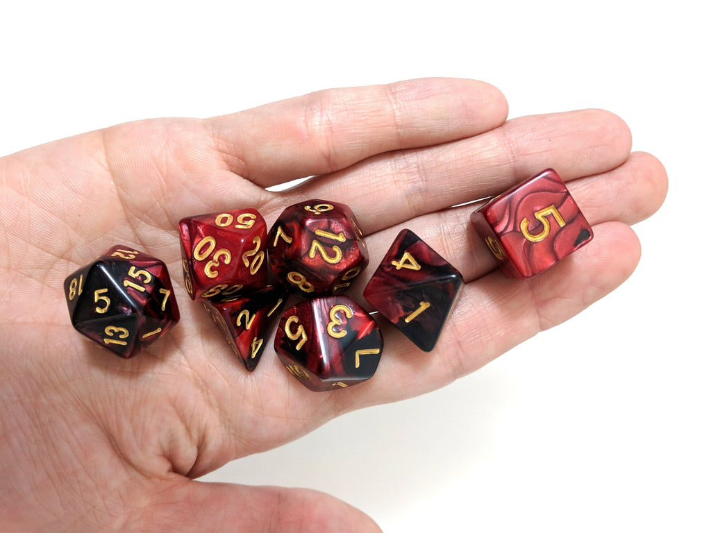 Blood Witch Dice Set, Red and Black Marbled 7 Piece D&D Dice Set - CozyGamer