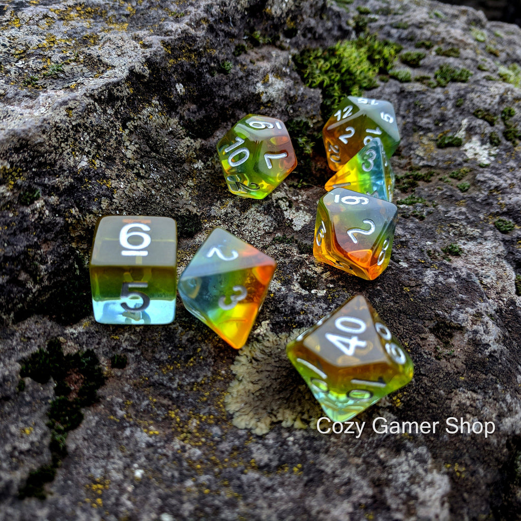 Sunrise DnD Dice Set, Translucent Layered Dice - CozyGamer