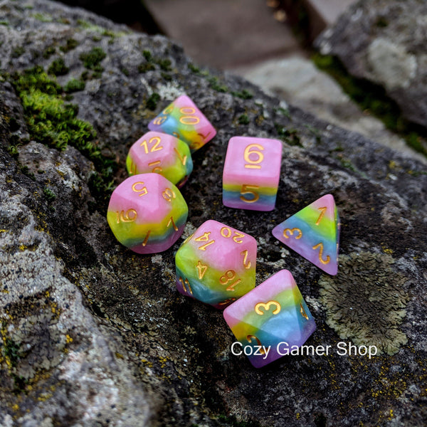 Pastel Rainbow Dice Set-Dice sets-CozyGamer