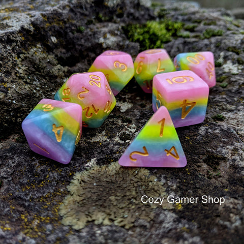 Pastel Rainbow Dice Set
