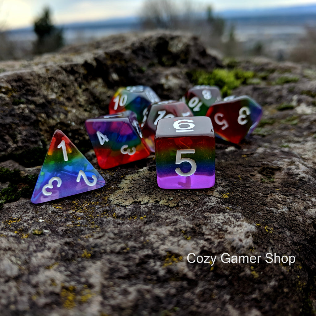 Translucent Rainbow Dice Set - CozyGamer
