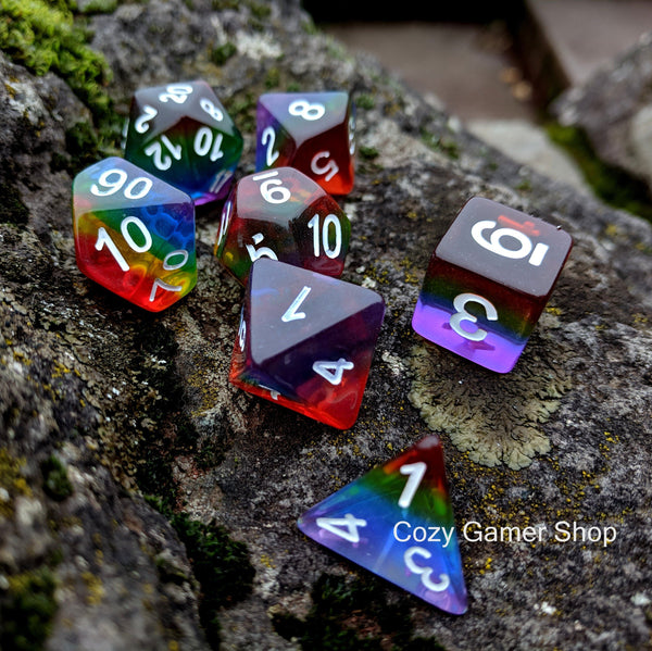 Translucent Rainbow Dice Set-Dice sets-CozyGamer